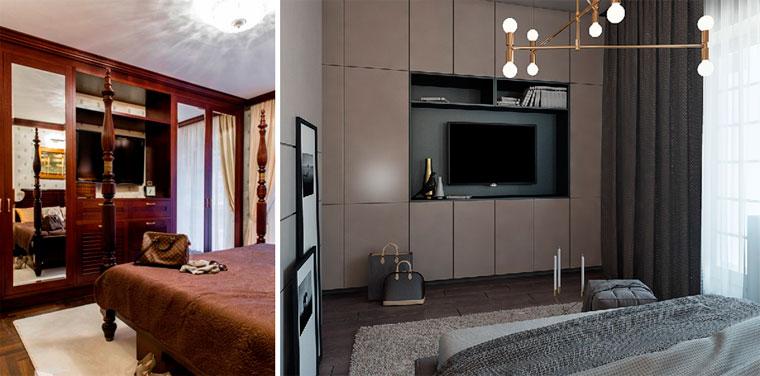 Прямоугольная спальня как расставить мебель, фото