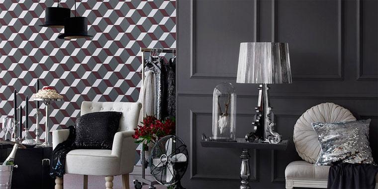 Абстрактные современные обои для гостиной в интерьере, фото