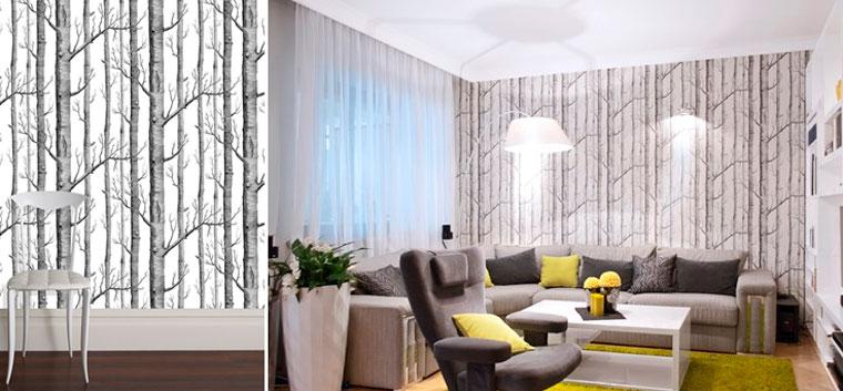 Серый лес и белые обои в интерьере гостиной, фото