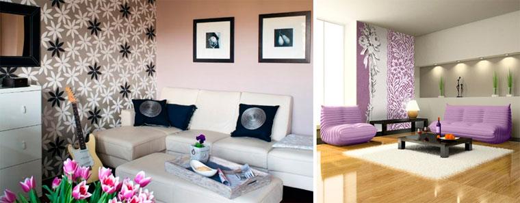 Цветастые обои в гостиную, фото интерьера