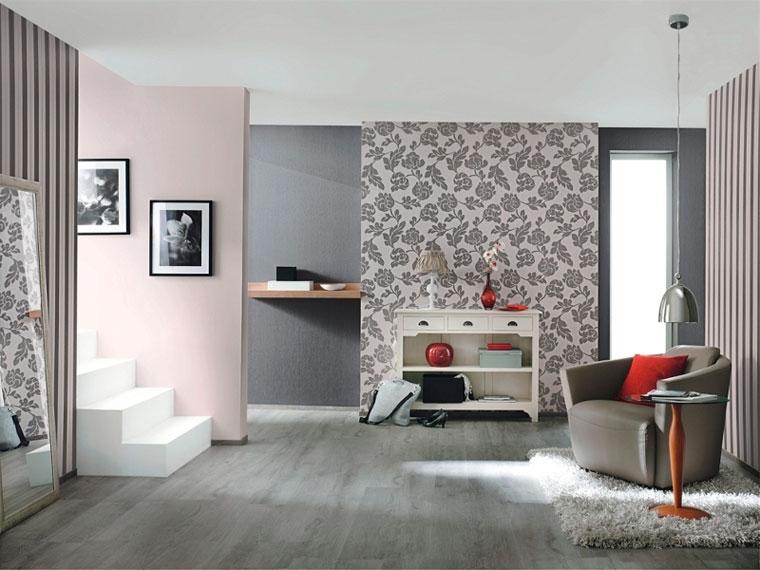Современный интерьер гостиной, обои двух видов, фото