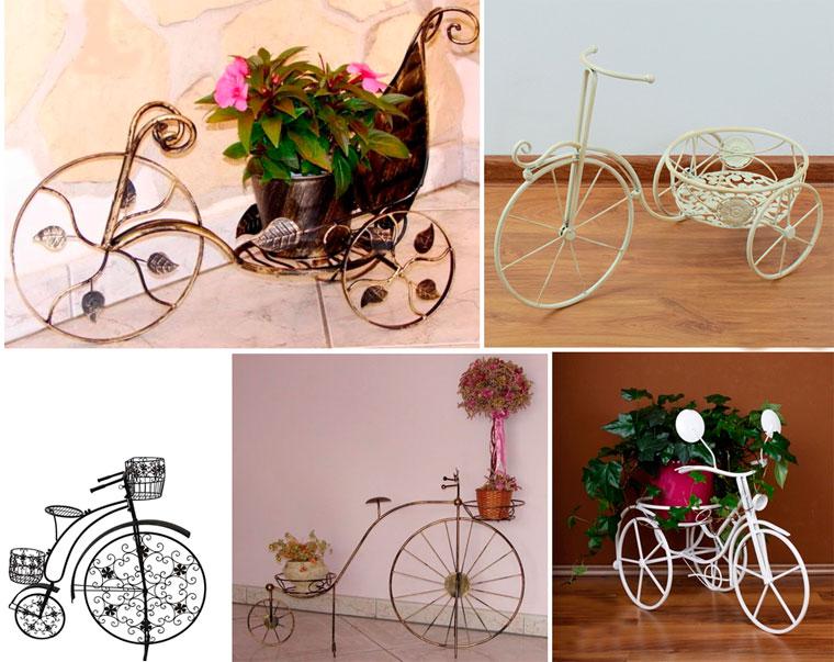 Кованые подставки для цветов напольные «велосипед» – фото