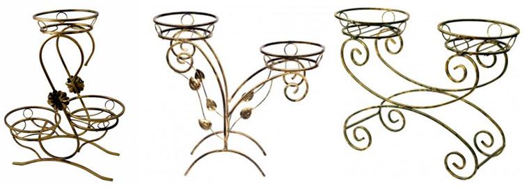 Подставки кованые для комнатных цветов на 2-3 горшка напольные, фото