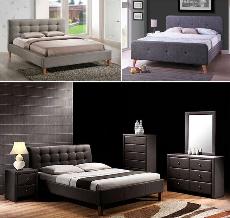 Кровати в различных оттенках серого