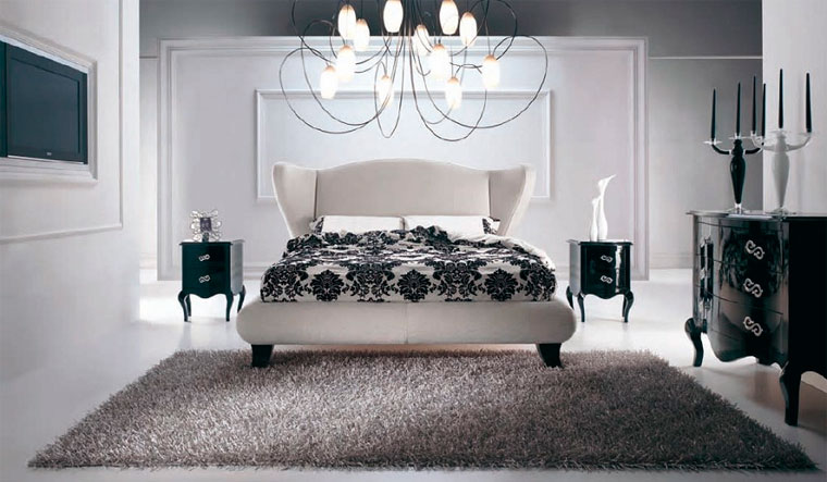 Гламурный дизайн спальни в серых тонах, фото