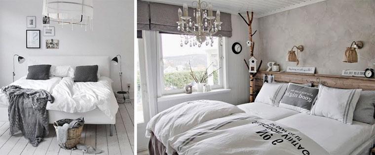 Скандинавская спальня в серо-белых тонах, фото