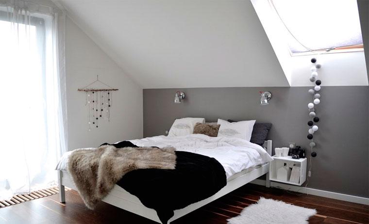 Интерьер спальни в серых тонах, фото