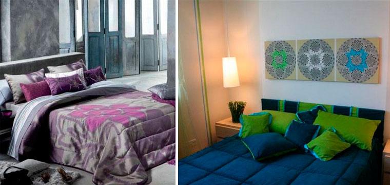 Спальня со стенами в серых тонах и яркими акцентами, фото