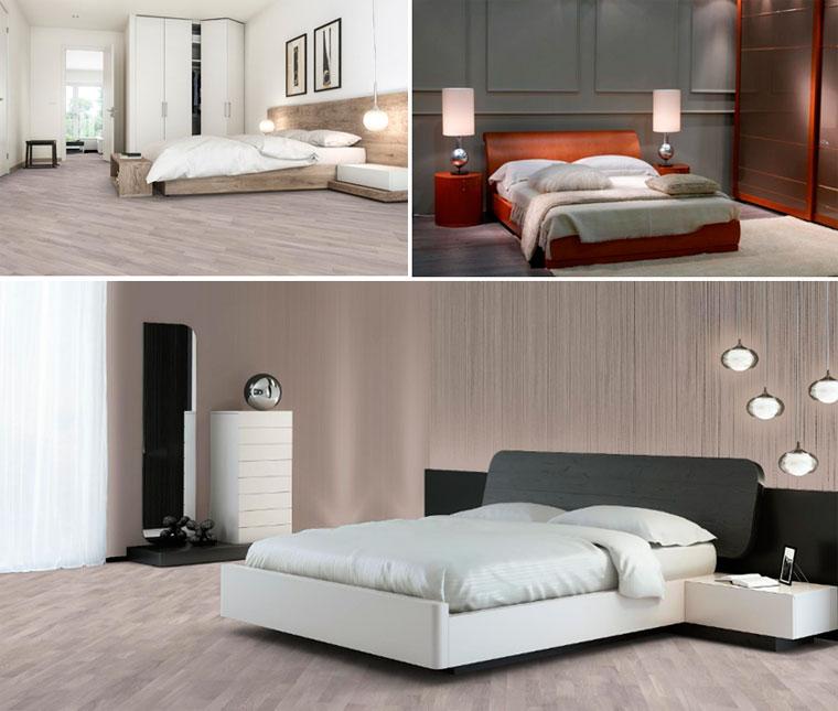 Спальня с полом в серых тонах из натуральной древесины, фото