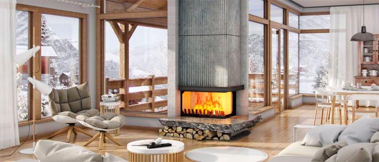 Современная гостиная в стиле шале с камином, фото