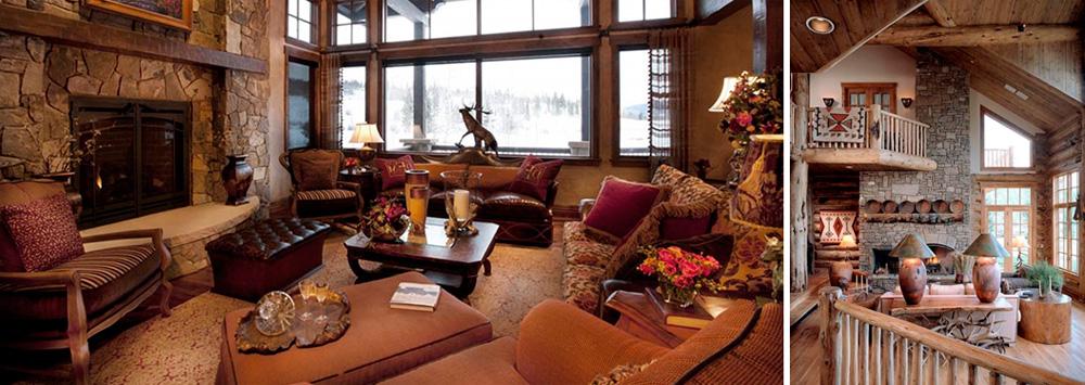 Гостиная в стиле шале с камином, фото
