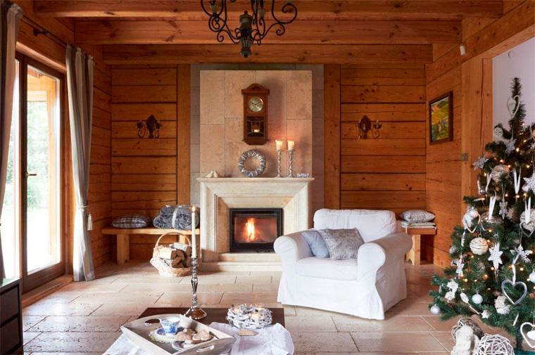 Интерьер гостиной в стиле шале, фото