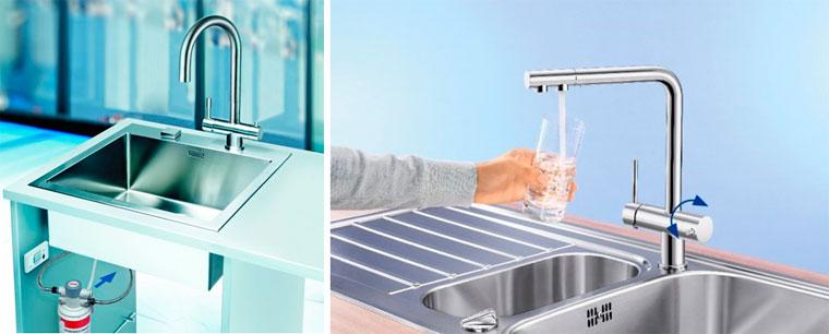 Кухонный смеситель с встроенным фильтром для воды, фото