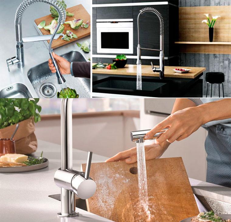 Кухонные смесители для мойки grohe с выдвижным носиком, фото