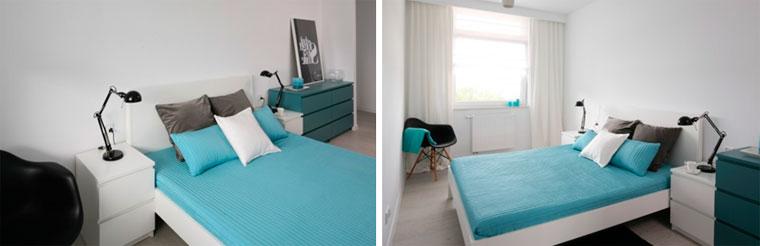 Минималистская спальня в бирюзово-белых тонах