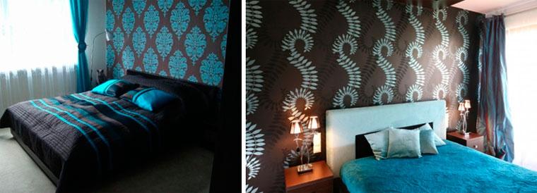 Дизайн спальни в бирюзовых тонах, фото