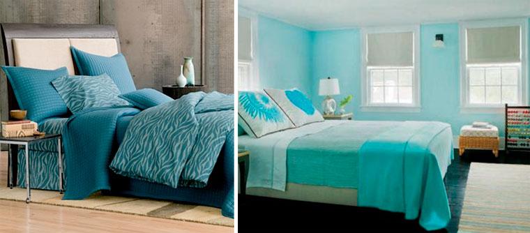 Спальня в бирюзовых тонах – фото