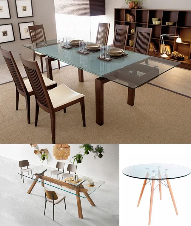 Минималистичные деревянные столы со стеклянной столешницей, фото