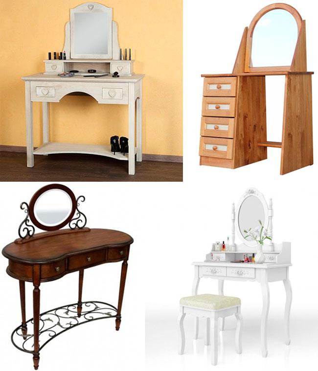 Деревянные туалетные столики для спальни с зеркалом, фото