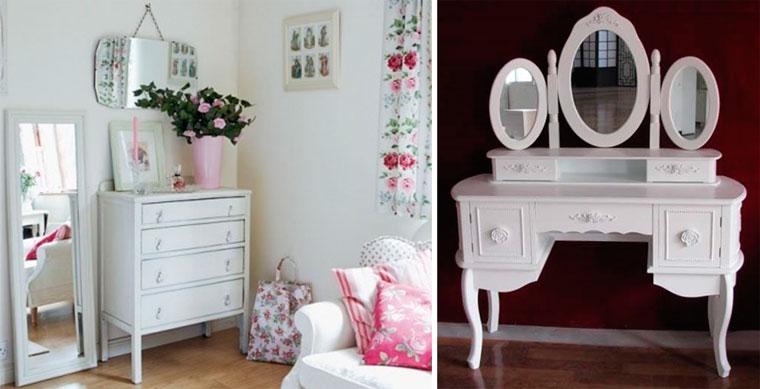 Белые туалетные столики для спальни в стиле прованс с зеркалом, фото