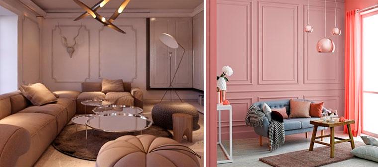 Интерьер комнаты в светлых тонах розового и персикового