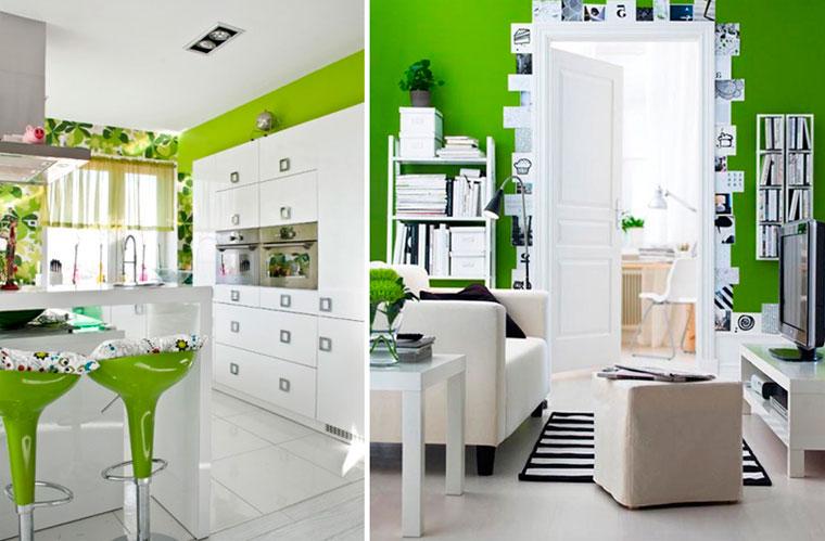 Зеленый цвет стен в интерьере с черно-белым контрастом