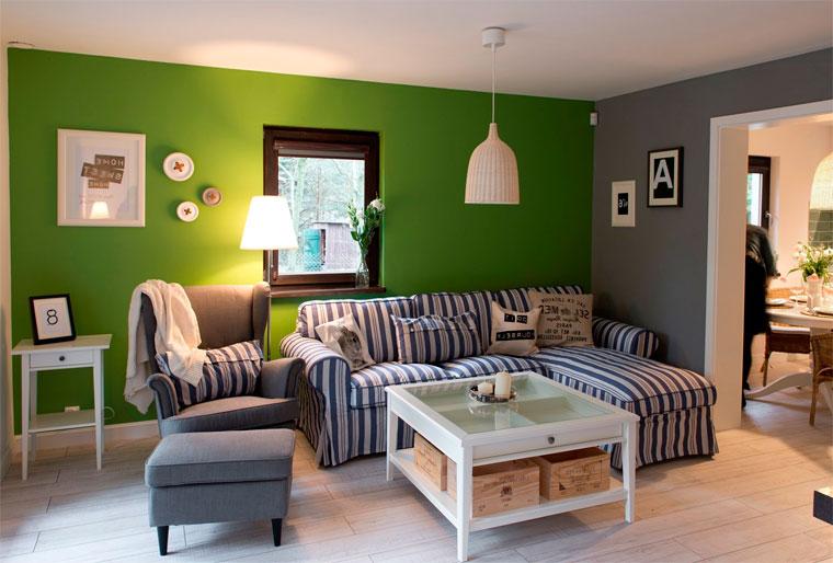 Темно-зеленые стены в интерьере, фото