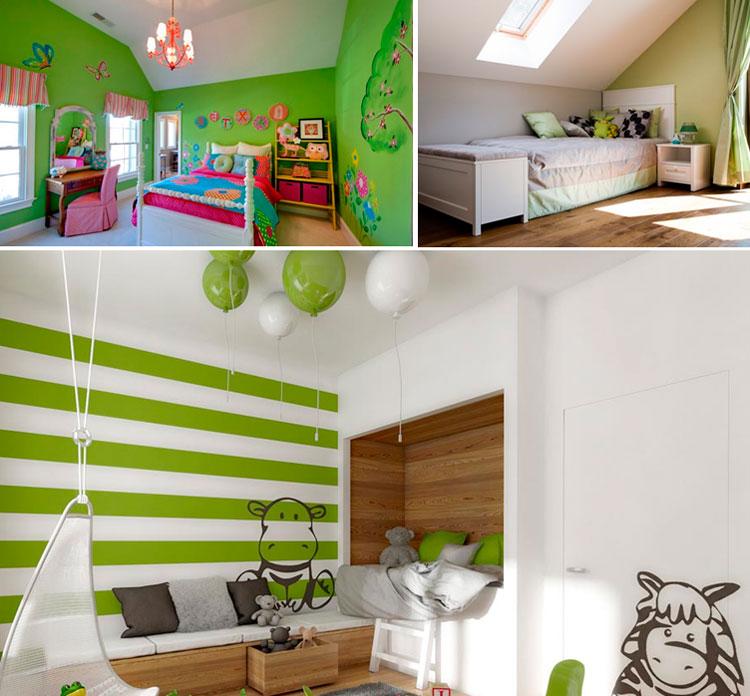 Зеленые обои и краска на стене в интерьере детской комнаты, фото