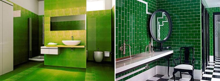 Ванная с зеленой плиткой, фото