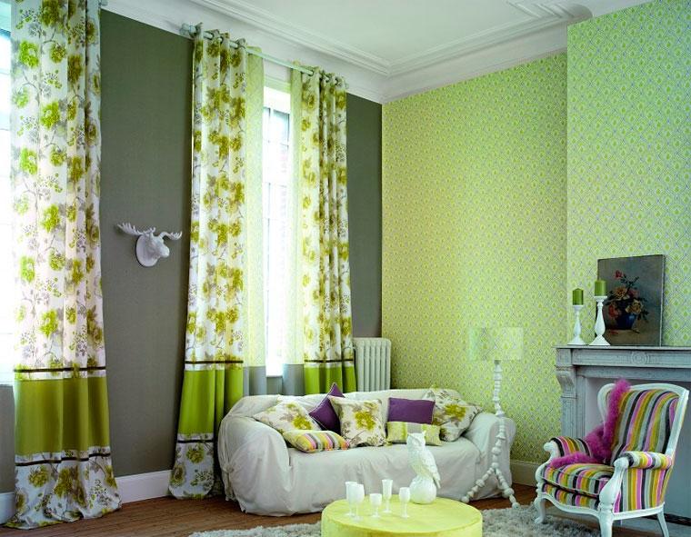 Обои зеленые для стен в интерьере, фото