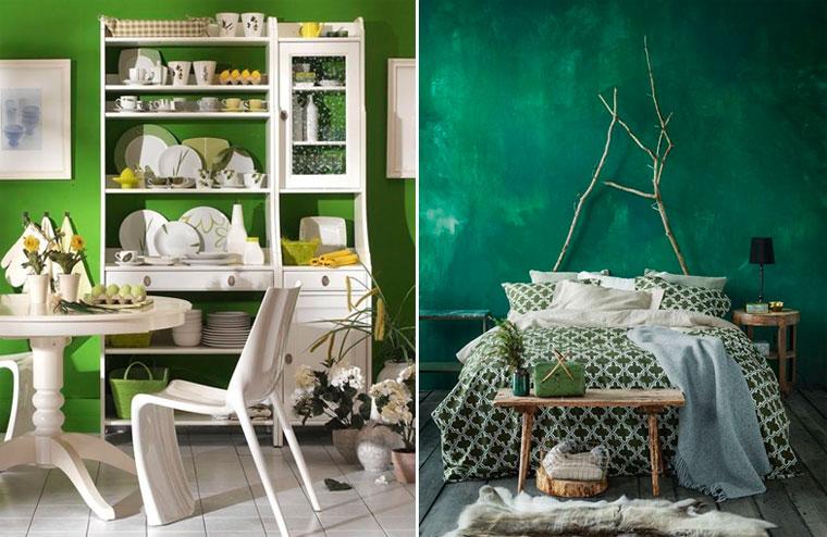 Интенсивный зеленый цвет на стенах в интерьере, фото