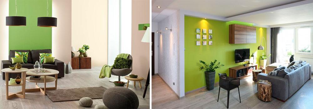 Серо-зеленые стены в интерьере, фото