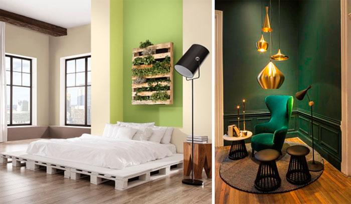Темный и светлый зеленый цвет стен в интерьере, фото