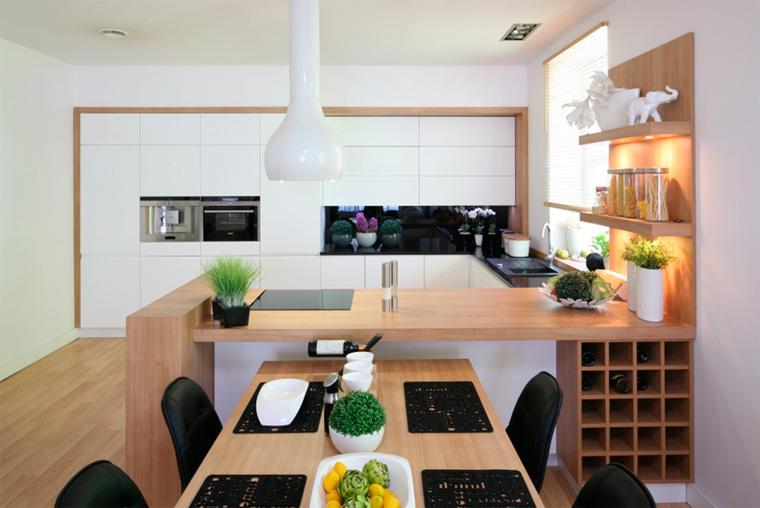 Черно-белая кухня с деревянной столешницей, фото