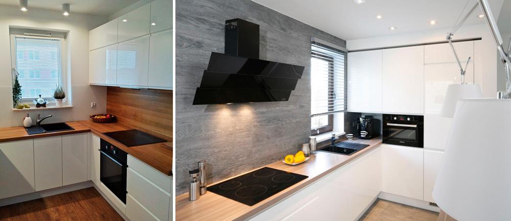 Белая глянцевая кухня с деревянной столешницей, фото