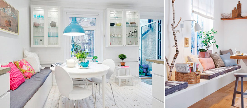 Диванчики для кухни в скандинавском стиле, фото