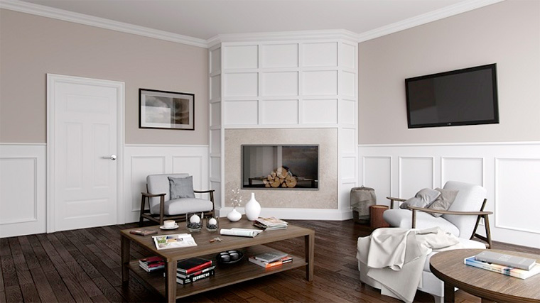 Фото. Интерьеры квартир в классическом английском стиле, дерево на обшивке стен
