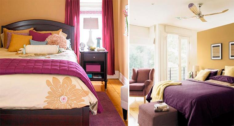 Сочетание цветов в интерьере спальни – фиолетовый и сиреневый с желтым, фото