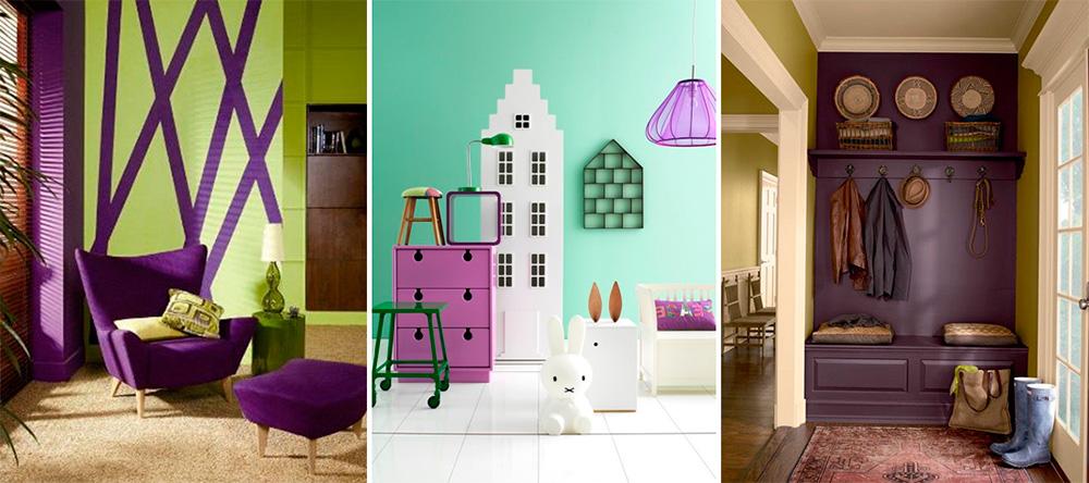 Сочетание цветов: фиолетовый и зеленый в интерьере