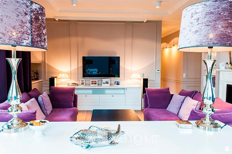 Фиолетовый в интерьере – мебель, добавки и аксессуары