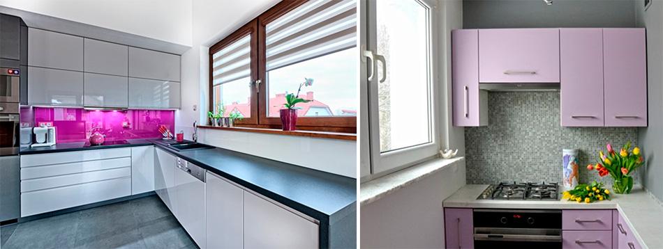 Сочетание фиолетового цвета в интерьере кухни, фото