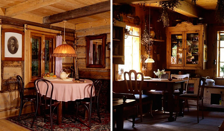 Дизайн кухни в загородном деревянном доме, фото