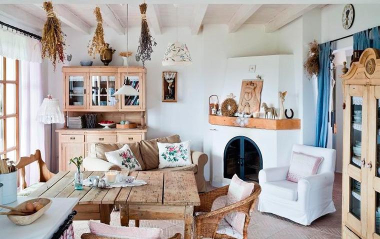 Фото. Кухня-гостиная – дизайн интерьера в загородном доме в деревенском стиле