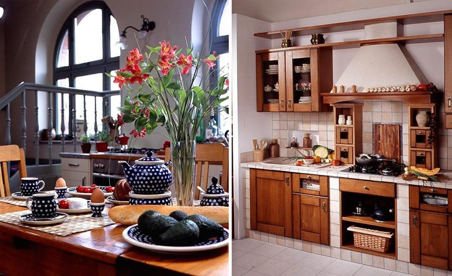Деревенский дизайн интерьера кухни в загородном доме, фото
