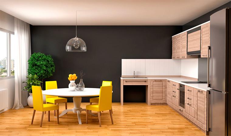 Современный дизайн кухни-гостиной в светлых тонах, фото