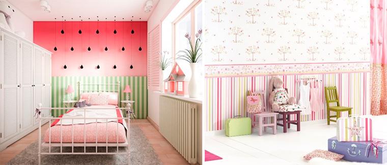 Бордюр из полосатых обоев в комнате для девочек, фото