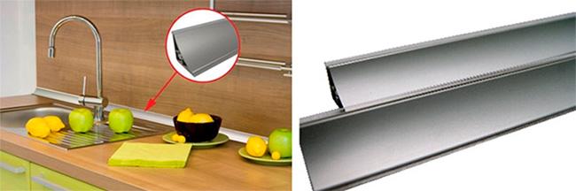 Алюминиевые плинтуса для столешницы на кухне