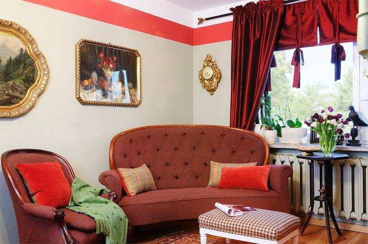 Цветовое оформление интерьера комнаты в стиле ретро