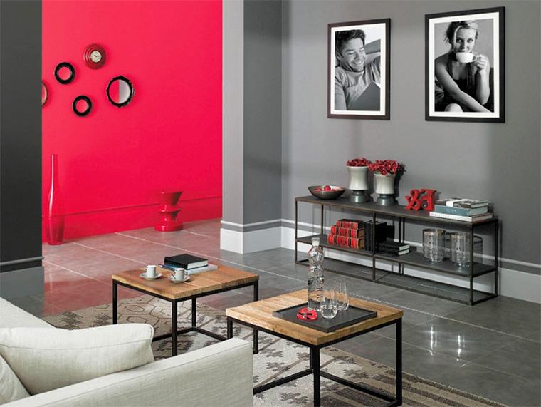 Интерьер гостиной в серых тонах, фото