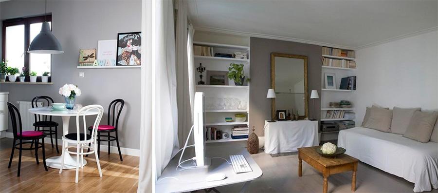 Гостиная в серо-белых тонах, фото